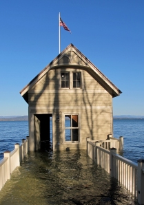 Doorless and flooded Rosslyn boathouse