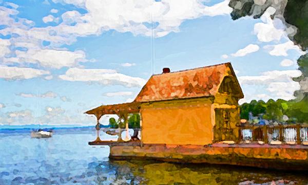 Rosslyn boathouse at sunrise (Digital doodle: virtualDavis)