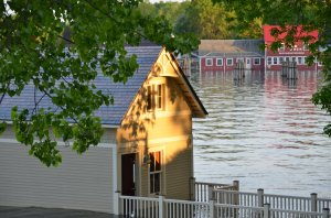 Rosslyn boathouse transcending Lake Champlain floodwaters. (photo credit, Jill Piper)
