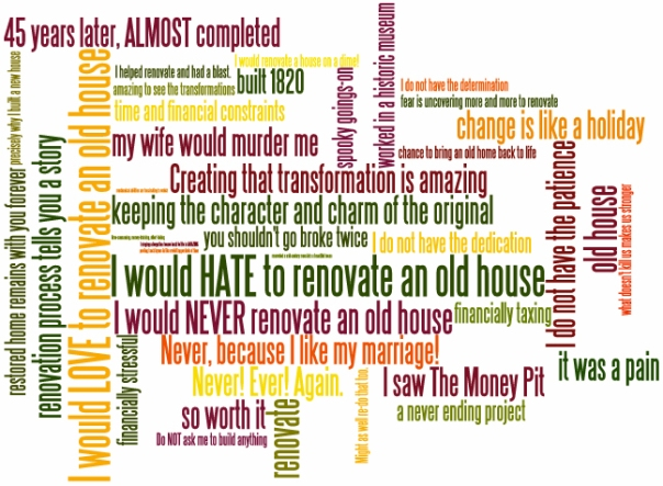 I would love/hate to renovate an old house because...